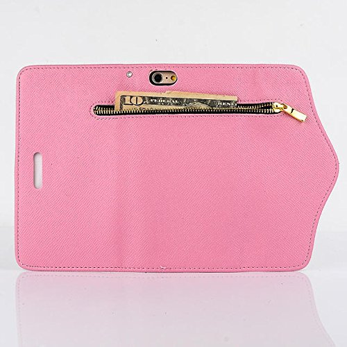 "inShang iPhone 6 Plus iPhone 6S Plus Coque 5.5"" Housse de Protection Etui pour Apple iPhone 6+ iPhone 6S+ 5.5 Inch, Coque Avec ZIPPER + Pochette + Rivet Decoration, Cuir PU de premiere qualite+ Qualit zipper pink"