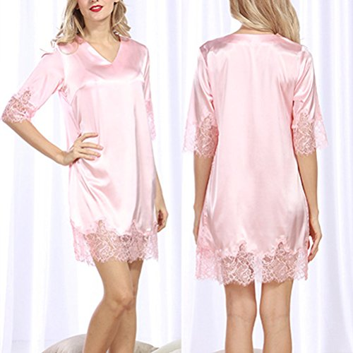 Zhhlinyuan Fashion Women Satin&Lace Short Nightgown Slip Lingerie Chemises Sleepwear pink
