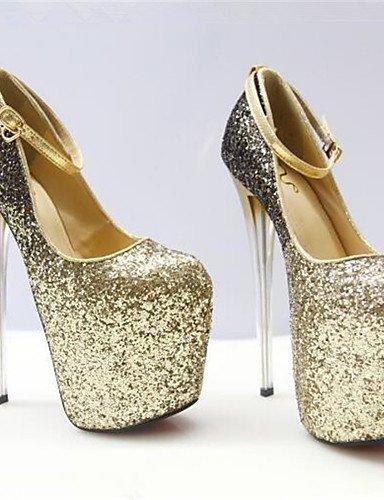 WSS 2016 Chaussures Femme-Habillé-Argent / Or-Talon Aiguille-Bout Arrondi-Talons-Similicuir golden-us10.5 / eu42 / uk8.5 / cn43