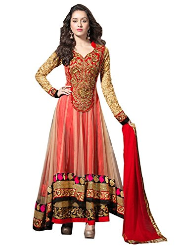 Aarvicouture Women\'s Orange Net Embroidery Gown Latest Party Wear Designe Net silk Semi Stitched Free Size Salwar Suit Dress Material