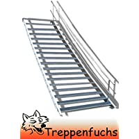 Stahltreppe Industrietreppe Aussentreppe Treppe 5 Stufen-Breite 90cm Variable Geschossh/öhe 70-105cm mit einseitigem Gel/änder