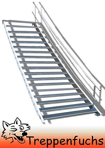 18 Stufen Stahltreppe mit einseitigem Geländer / Breite 100cm Geschosshöhe 299 - 360cm / Robuste Außentreppe / Wangentreppe / Stabile Industrietreppe für den Außenbereich / Inklusive Zubehör