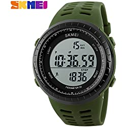 3D pedometer sports watch LED display quality Japanese electronic movement 50 meters waterproof wristwatch(Green)