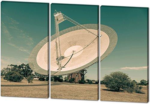 Satellitenschüssel, schönes und hochwertiges Leinwandbild zum Aufhängen in XXL - 3 Teiler mit 120cm x 80cm, echter Holzrahmen, effektiver Pigmentdruck, modernes Design für Ihr Büro oder Zimmer