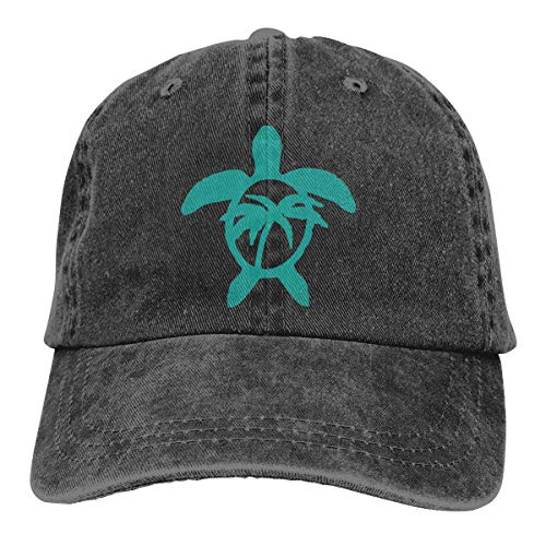 Mütze Hawaiian Palm Tree and Sea Turtle Men's Women's Adjustable Jeans Baseball Hat Denim Fabric Hip-hop Cap Sports Cool Youth Golf Ball Unisex Cowboy hat fedora beach hiking skul ()