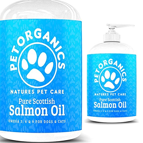 Paw Organics 100% Pure Natural Scottish Salmon Oil For Dogs, Cats, Ferrets, Horses & Pets Omega 3, 6 & 9 Supplement Promotes Coat, Skin, Joint and Brain Health – 30 Day