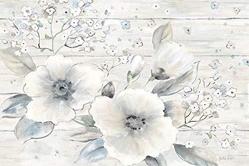 Rahmen-Kunst Keilrahmen-Bild - Cynthia Coulter: Vintage Bouquet on Wood Leinwandbild Blumen-Strauß Weiss Shabby Chic Landhaus -