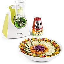 Klarstein Carrot & Rock Mandolina de cocina cortador de verduras electrico (150W potencia, 5 accesorios, Rallador, Rebanador, apto fruta o queso, verde)