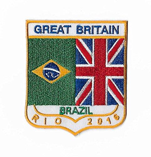 Brésil Jeux Olympiques de Rio 2016Patch (8cm) Team GB brodée fer à repasser ou à coudre badge Applique souvenir DIY Costume Grande-Bretagne Olympique Anneaux Logo