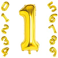 40 Inch Large Gold Number 1 Balloons,Foil Helium Digital Balloons for Birthday Anniversary Party Festival Decorations