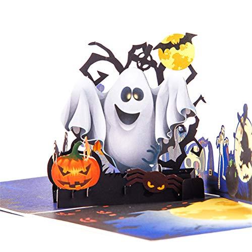 Jiahe Halloween kreative Stereo-Grußkarte 3D-Urlaub wünscht handgemachte Karte Geisterkürbis