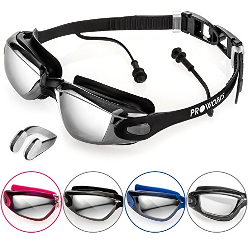 Proworks Taucherbrille mit 100% UV Schutz [Wasserdicht] Schwimmbrille mit Sehstärke und eingearbeiteten Ohrstöpsel für Tauchen, Schwimmen & Schnorcheln – inkl. Nasenklammer & Tasche - Schwarz
