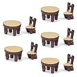 5 Sätze Von Miniaturharz Stuhl Tisch Mikro Vergossen Landschaft Puppenhaus Einrichtung