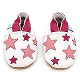 Dotty Fish Leder Babyschuhe - Baby Mädchen - weiß und hellrosa Sterne - 6-12 Monate (Gr. 19) Bild 3