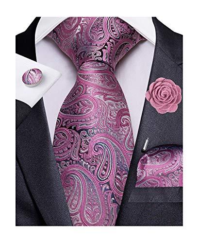 DiBanGu Seide gewebte Krawatten Taschentuch Manschettenknöpfe und Anstecknadel 4-teiliges Set Gr. 85, dunkelrosa