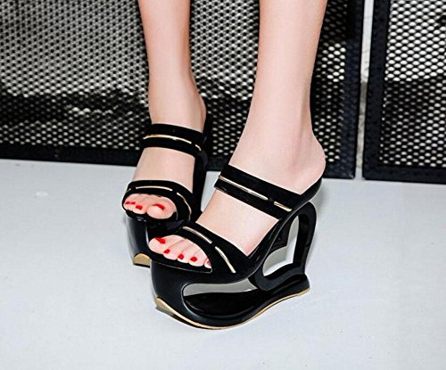 GLTER Femmes Sandales Talons Ouverts Chaussure Talons Rouges Talons Hauts Pantoufles ImperméAbles L'Eau Chaussons Talon Rouge Noir Black