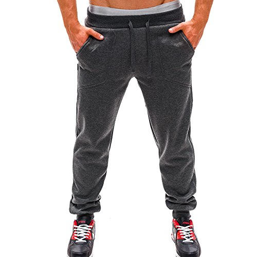 Herren Laufhose/ Herren Jogginghose,Bovake Mens {Long Trousers} Tracksuit Fitness Workout Joggers Gym Sweatpants (Gray, M) (Legging Heatgear Fit Compression)