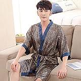Unbekannt ZHAOJING Pyjamas Männer Sommer Silk Robe Bademäntel Jugend Bademantel Large Size Simulation Seide Home Wear Thin (Farbe : B, größe : XXXL)