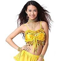 Donne Sexy Danza Tops Danza del ventre Costume Sequins Coins Top Bandage Danzawear Belly Tops
