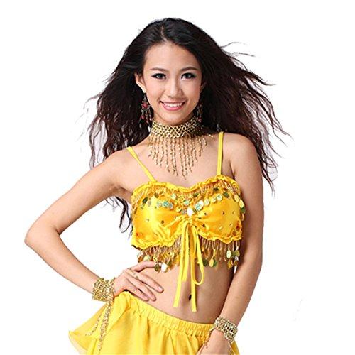 Women Sexy Dance Tops Bauchtanz Costume Sequins Coins Top Bandage Dancewear Bauchtanz Tops Yellow
