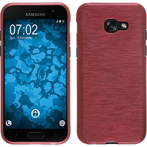 PhoneNatic Case kompatibel mit Samsung Galaxy A3 2017 - rosa Silikon Hülle Brushed + 2 Schutzfolien