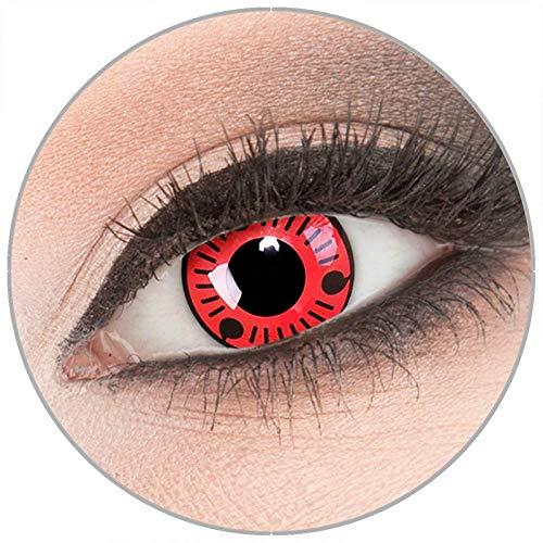 taktlinsen von 'Evil Lens' zu Fasching Karneval Halloween 1 Paar rote schwarze Crazy Fun Kontaktlinsen mit Behälter in Topqualität ohne Stärke ()