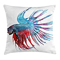tgyew Aquarium Throw Pillow Cushion Cover, Fantastic Betta Fish Close up Dragon Fish with Fringy Tail Tropic Aquatic Life, Decorative Square Accent Pillow Case, 18 X 18 inches, Light Blue Red