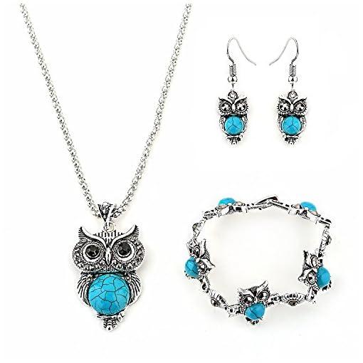 5fc44fe7d945 Hosaire Collar Pendientes Pulsera Retro Mujer Elegante Joyas Cristal ...