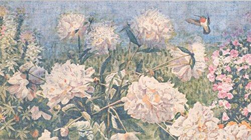 Retro Art Vintage Blumen Hydrangea Hortensia Gänseblümchen Distressed Blumentapete Grenze Retro-Design, Roll-15' x 6