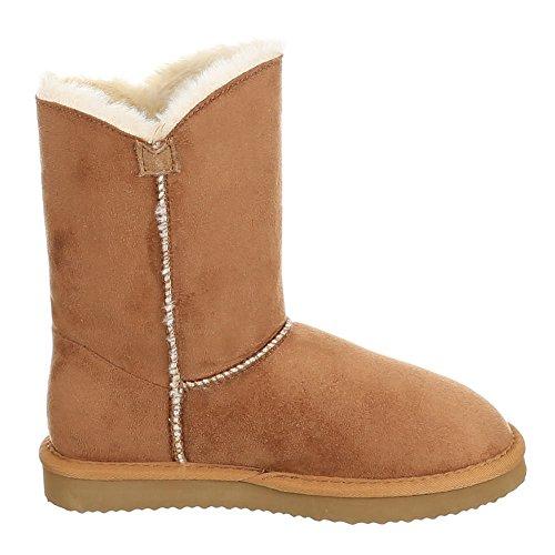 Damen Schuhe, WX5835, BOOTS WARM GEFÜTTERTE WILDLEDER Camel 2