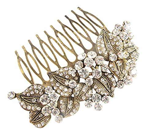 Pick A Gem Wedding Hair Accessories Vintage Gold Austrian Crystal Impressive Embellished Hair Comb by Pick A Gem Hair Accessories