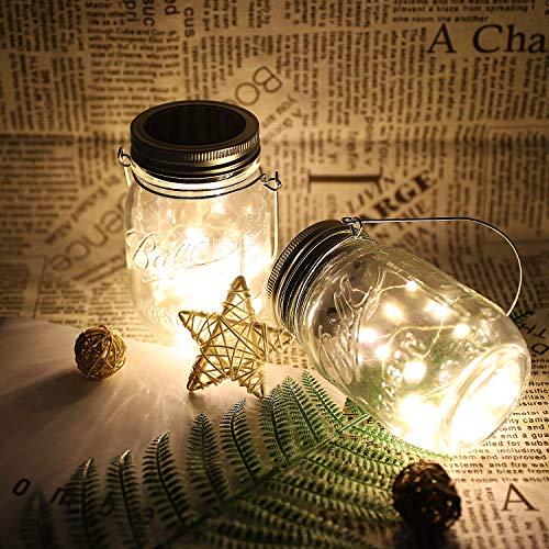 MoKo Luz de Cadena de Botella,[4PCS] 20 LED Mason Jar luz de Hadas Impermeable Solar con Perchas para Decoración del Dormitorio, Patio, jardín, al Aire Libre ect,Blanco Cálido
