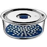 WMF Top Serve Vorratsdose, rund, Ø 18 cm, mit Abtropfgitter, luftdichtem Deckel, Frische-Ventil, Multifunktions-Schalen zum Vorbereiten, Aufbewahren und Servieren