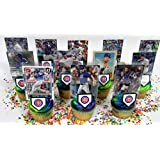 Chicago CUBS Baseball Team Themed Birthday Cupcake Topper Set Featuring Cubs Player Baseball Cards And Themed...