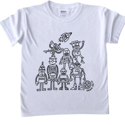 T Shirt Per Bambini Da Colorare Disegno Robot Dimensioni Età 5 6 Marcatori Tessuto Sono Venduti Separatamente