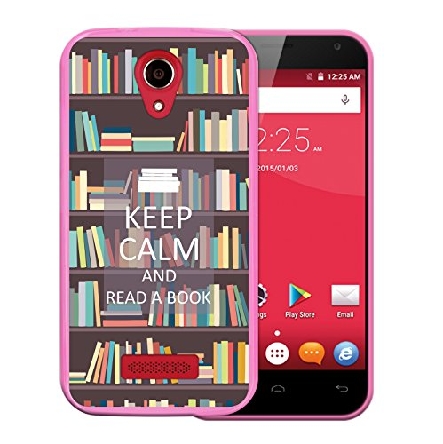 WoowCase Doogee X3 Hülle, Handyhülle Silikon für [ Doogee X3 ] Keep Calm and Read a Book Handytasche Handy Cover Case Schutzhülle Flexible TPU - Rosa