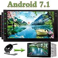 EinCar 7 '' Doble Din de unidades principales estéreo Android 7.1 GPS de navegación para automóviles Auto Radio Audio 1080P Reproductor de vídeo Quad Core construido en Wi-Fi Bluetooth AM / FM Volante Control + cámara de visión trasera GRATIS