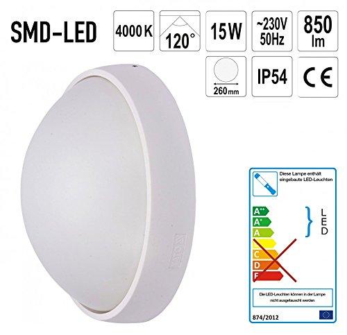 Preisvergleich Produktbild LED Aussen Wandlampe Wandleuchte 15W Kreisrund Ø 260 x 110 mm Weiss