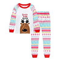 Qtake Fashion Girls Pajamas Children Clothes Set Deer 100% Cotton Little Kids Pjs Sleepwear (3-4 Years, 1-Christmas)