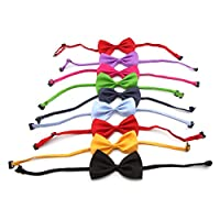 Owfeel 10pcs Dog Cat Pet Adjustable Bow Tie Collar Random Color