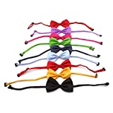 Owfeel 10pcs Dog Cat Pet Adjustable Bow Tie Collar Random Color