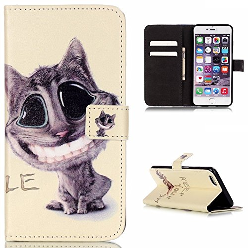 PowerQ [ Tower painting - per IPhone 5S 5 5G SE IPhone5S IPhoneSE ] modello colorato caso di serie PU Artificia-Cuoio Holster con Bella Abbastanza patrón Imprimir Cellulare caso della copertura cellul Smiling Cat