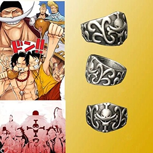 HiRudolph Cosplay One Piece Edward Newgate Monkey D Luffy Ring Portgas Ace Skull Ring