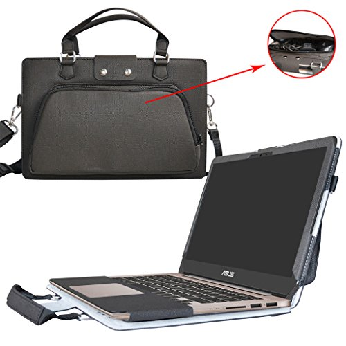 Asus UX310UA UX310UQ Hülle,2 in 1 Spezielles Design eine PU Leder Schutzhülle + portable Laptoptasche für 13.3' Asus Zenbook UX310UA UX310UQ Series Notebook,Schwarz