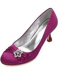Zxstz Mujeres Zapatos de salón Bombas de tacón Alto Satén Zapatos de la  Corte del Banquete 684602990912