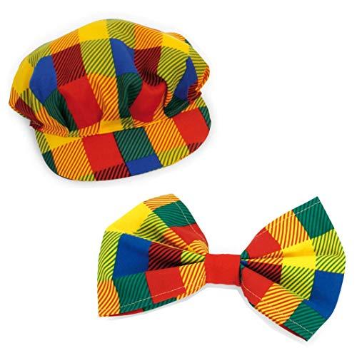 KarnevalsTeufel Zubehör - Set Clown Pebb | 2-TLG. Mütze und Schleife, Verschiedene Designs | Scherzbold, Kostüm, Schelm (Modell 2) - Clown Hut