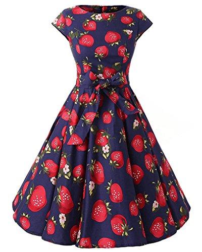 MISSMAO Damen 50s Retro Blumen Rockabilly Kleid Rundhals 60s Faltenrock Cocktailkleider Partykleider...