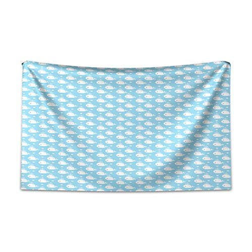 ABAKUHAUS Wal Wandteppich und Tagesdecke, Blaue Baby-Dusche-Design aus Weiches Mikrofaser Stoff Kein Verblassen Klare Farben Waschbar, 230 x 140 cm, Hellblau Weiß