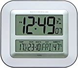Jumbo LCD Radio Controlled Wall Clock with Temperature and Humidity display (New UK Version)