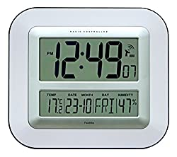 Jumbo Large LCD Radio Controlled Wall & Desk Clock (UK & Ireland Version) Silent Battery Operated Temperature Humidity Calendar for Home Office